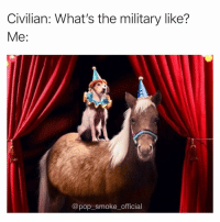 Memes, Pop, and Military: Civilian: What's the military like?  Me:  @pop smokeofficial Comment if you get it