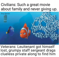 I got so many messages to do another one, I finally caved. -El Guapo  #VeteransExplainDisney: Civilians: Such a great movie  about family and never giving up.  Pop Smoke  M18  RED  Veterans: Leuitenant got himself  lost, grumpy staff sergeant drags  clueless private along to find him I got so many messages to do another one, I finally caved. -El Guapo  #VeteransExplainDisney