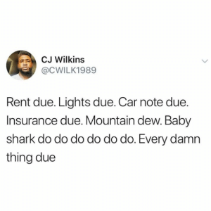 Everything due..😩: CJ Wilkins  @CWILK1989  Rent due. Lights due. Car note due.  Insurance due. Mountain dew. Baby  shark do do do do do do. Every damn  thing due Everything due..😩