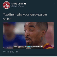 "Bruh, Friday, and Lebron: CK Kicks Deals  @KicksDeals  ""Aye Bron, why your jersey purple  bruh?""  E 92 Gs 103  4TH 2:09  eMarcus  NRA FRIDAY  7/1/18, 6:10 PM Lebron went back to Miami 🤣🤣🤣🤣"