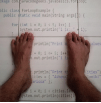 """The floor is Java: ckage com Davacode geeks java basics.tor loop  blic clas For Loop Example  public tatic void main (String args[1)  for (int i  0; i 5; i++)  System.out.println (""""i is: t i);  println (""""Print  a  alues  0; i 5; itt  out.println (""""i i  Cities"""")  println(""""Print th  ities Athens  on iki  rissa""""  i 0; i cities, let  Stem out.println (cities The floor is Java"""