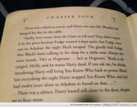 "Being Alone, How Many Times, and Memes: CLADTERFOUR  There was a thud on wood, and Harry was sure Mr  banged his fist on the table.  . Weasley had  Molly, how many times do I have to tell you? They didn't  ie in the press because Fudge wanted it kept quiet, but Fud  out to Azkaban the night Black escaped. The guards told F  chat Black's been talking in his sleep for a while now. Always the  same words: 'He's at Hogwarts...  ranged, Molly and he wants Harry dead. If you ask me, he thi  t report  udge  he's at Hogwarts.' Black is de-  murdering Harry will bring You-Know-Who back to power  lost everything the night Harry stopped You-Know-Who, and he's  had twelve years alone in Azkaban to brood on that. ...""  . Black  There was a silence. Harry leaned still closer to the door, desper-  ate to hear more.  You're probably better off not going to  MUGGLENET MEMES.COM <p>Mistake in POA! &ldquo;The guards told Fudge&hellip;&rdquo; How could the guards tell him anything? They are dementors! <a href=""http://ift.tt/1jWbjQg"">http://ift.tt/1jWbjQg</a></p>"