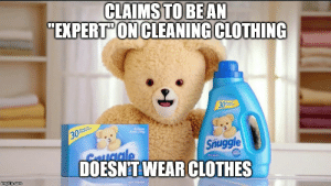 Image tagged in memes,snuggle bear - Imgflip: CLAIMS  TO BEAN  EXPERT'ON CLEANING CLOTHING  30  Snuggle  C uale  DOESNT WEAR CLOTHES Image tagged in memes,snuggle bear - Imgflip