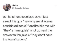 "Ah yes, the classic marsupials: claire  @clairedaniellem  yo i hate honors college boys i just  asked this guy ""hey why aren't koalas  considered bears?"" and he hits me with  ""they're marsupials"" shut up nerd the  answer to the joke is ""they don't have  the koalafications"" Ah yes, the classic marsupials"