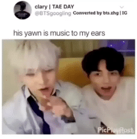 Music, Tumblr, and Blog: clary I TAE DAY  @BTSgoogling Converted by bts.zhg IG  his yawn is music to my ears jungkoooooooookiee: JUNGKOOK WILL NEVER CEASE TO SURPRISE ME cr: btsgoogling