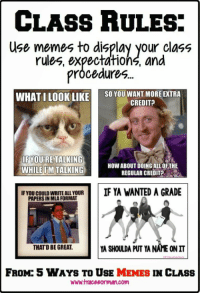 class rules: CLASS HULES.  Use memes to display your class  rules, expectations, and  prócedure  WHAT I LOOK LIKE  SO YOU WANT MOREEXTRA  CREDIT?  IFYOURE TALKING  WHILE UM TALKING  HOW ABOUT DOING ALL OFTHE  REGULAR CREDIT  IF YOU COULD WRITE ALL YOUR  PAPERS IN MLA FORMAT  IF YA WANTED A GRADE  THATD BE GREAT  A SHOULDA PUT YA NAME ONIT  FROM: 5 WAYS TO USE MEMES IN CLASS  www.traceeorman.com