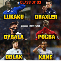 These beasts were all born in 1993 😍 Who's your fav? 😈 Double Tap and follow me @footy.base for more! 🔥: CLASS OF 93  LUKAKU  DRAXLER  Credits: FOOTYBASE  POGBA  DYBALA  OBLAK  KANE  Foot Base These beasts were all born in 1993 😍 Who's your fav? 😈 Double Tap and follow me @footy.base for more! 🔥