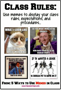 Five ways to use memes in your classroom: CLASS RULES:  Use memes to display your class  rules, expectations, and  pröcedures  WHAT ILOOKLIKE SO YOU WANT MORE EXTRA  CREDIT?  IF YOURE TALKING  WHILEUM TALKING  HOW ABOUT DOING ALLOFTHE  REGULAR CREDIT?  iF YOU COULD WRITE ALL YOUR  PAPERS IN MLA FORMAT  IF YA WANTED A GRADE  THATD BE GREAT.  YA SHOULDA PUT YA NAME ON IT  FROM: 5 WAYS TO USE MEMES IN CLASS  www.traceeorman.com Five ways to use memes in your classroom