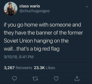 go home: class wario  @chuchugoogoo  if you go home with someone and  they have the banner of the former  Soviet Union hanging on the  wall..that's a big red flag  9/10/18, 6:41 PM  3,267 Retweets 23.3K Likes