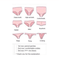 Can't explain how true this is lmao: Classic briefs  High-cut briefs  Control briefs  Boyshorts  Bikini  Hipster  G-String  Tanga  Thong  1st row: period panties  2nd row: comfortable undies  3rd row: f  me draws  A thank you for the explanation Can't explain how true this is lmao