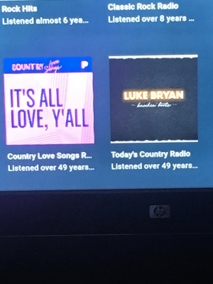 I was looking back on my Pandora listen history, and a lot of time has passed.: Classic Rock Radio  Rock Hits  Listened over 8 years..  Listened almost 6 yea...  COUNTRY  IT'S ALL  LOVE, Y'ALL  LUKE BRYAN  bnesa Aate  Today's Country Radio  Listened over 49 years...  Country Love Songs R...  Listened over 49 years... I was looking back on my Pandora listen history, and a lot of time has passed.