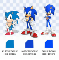True Blue, no matter what hue. #ColorDay: CLASSIC SONIC  MODERN SONIC  SONIC BOOM  HEX: 07DC6  HEX: OF45D2  HEX: 024B FB True Blue, no matter what hue. #ColorDay