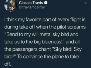 "me irl: Classic Traviso  @travismcelroy  I think my favorite part of every flight is  during take oft when the pilot screams  ""Bend to my vwill metal sky bird and  take us to the big blueness!"" and all  the passengers chant ""Sky bird! Sky  bird!"" To convince the plane to take me irl"
