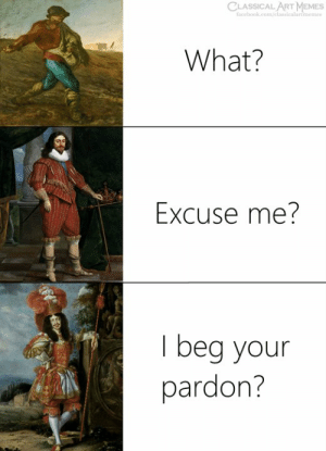 Facebook, Memes, and facebook.com: CLASSICAL ART MEMES  facebook.com/elassicalartmemes  What?  Excuse me?  I beg your  pardon?
