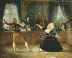 Facebook, facebook.com, and Classical Art: CLASSICAL ART MNEMES  facebook.com/classicalartmemes  Not eating because  I feel nauseous  Feeling nauseous because  I'm not eating