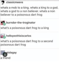 God, Memes, and 🤖: classicmeevs  whats a mob to a king. whats a king to a god.  whats a god to a non believer. whats a non  believer to a poisonous dart frog  burndor-the-troginator  what's a poisonous dart frog to a king  helloyesthisiscarlos  what's a poisonous dart frog to a second  poisonous dart frog  lolagay  a friend Everyone has a friend. You may not know it yet. But you do.