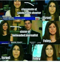 Memes, Israel, and Live: classmate of  sandy hook Shooter  EXCLUSIVE  Israel  ALEX ISRAEL  Former Classmate of Adam Lanza  EMAI  sister of  beheaded journalist  Foley  YA LIVE  NIWY  KATE FOLEY  Katie Cou  Israel  Foley