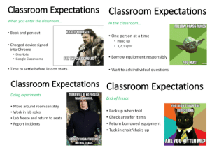 Some Pretty Sick Memes Provided By My Science Teacher: Classroom Expectations Classroom Expectations  When you enter the classroom...  In the classroom  FOLLOW CLASS RULES  Book and pen out  BRACEYOURSELF  One person at a time  Charged device signed  into Chrome  Hand up  3,2,1 spot  OneNote  Google Classrooms  FOR  THECLASS RULES  . Borrow equipment responsibly  YOU MUST  Time to settle before lesson starts.  Wait to ask individual questions  Classroom Expectations Classroom Expectations  Doing experiments  THERE WILL BE NO FOOLISH  WAND WAVING,  End of lesson  YOU DIDNTHEAR THE  DIRECTIONS  Move around room sensibly  Work in lab roles  Lab freeze and return to seats  Report incidents  Pack up when told  .Check area for items  Return borrowed equipment  . Tuck in chair/chairs up  ORSILLY INCANTATIONS .  ARE YOU KITTEN ME  IN THIS CLASS Some Pretty Sick Memes Provided By My Science Teacher
