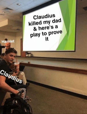 Dad, Hamlet, and Play: Claudius  killed my dad  & here's a  play to prove  it  Hamlet  Claudius