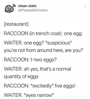 Raccoon, Restaurant, and Yes: clean slate  ッ@PleaseBeGneiss  restaurant  RACCOON (in trench coat): one egg  WAITER: one egg? *suspicious*  you're not from around here, are you?  RACCOON: t-two eggs?  WAITER: ah yes, that's a normal  quantity of eggs  RACCOON: *excitedly* five eggs!  WAITER: *eyes narrow Suspicious