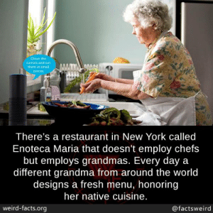 And Cut: Clean the  carrots and cut  them in small  Pieces  There's a restaurant in New York called  Enoteca Maria that doesn't employ chefs  but employs grandmas. Every day a  different grandma from around the world  designs a fresh menu, honoring  her native cuisine.  weird-facts.org  @factsweird