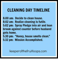 "Genuis. (via: Keeper of The Fruit Loops): CLEANING DAY TIMELINE  8:00 am: Decide to clean house.  8:02 am: Realize cleaning is futile.  5:02 pm: Spray Pledge into air and lean  broom against counter before husband  gets home.  5:30 pm: ""Honey, house smells clean.""  5:32 pm: Mission Accomplished.  keeperofthefruitloops.com Genuis. (via: Keeper of The Fruit Loops)"