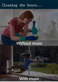 Music, House, and The House: Cleaning the house...  Without music  With music
