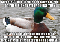 Food, Roommate, and Piles: CLEANING YOUR DISHES IS EASIEST IF YOU  DO THEM RIGHT AFTER YOU USE THEM  THEY DONT PILE UP AND THE FOOD ISN T  CRUSTED ON TOO BADLY DAN YOU WINDOW  LICKING, USELESS ASSEXCUSE OF A ROOMMATE