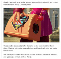 Head, Shit, and Prodigy: Clearly I am really slow on the uptake, because I just realized if you look at  the buttons on Honey Lemon's purse:  Those are the abbreviations for elements on the periodic table. Honey  doesn't just go into battle, push a button, and have it spit out a pre-made  chemical ball.  She literally encounters an obstacle, comes up with a solution in her head,  and types up a formula for it on the fly. This is some prodigy type shit