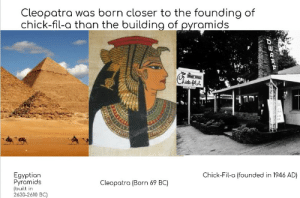 History m̶e̶m̶e̶ fact: Cleopatra was born closer to the founding of  chick-fil-a than the building of ovramids  ·ICH  Egyptian  Pyramids  (built in  2630-2610 BC)  Chick-Fil-a (founded in 1946 AD)  Cleopotra (Born 69 BC) History m̶e̶m̶e̶ fact