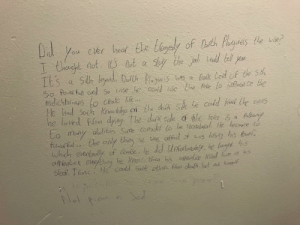 Went to a toilet on my university, found this on the wall: Cler heat the togaly of Dth Plegues the  ot a  of Dach Paques le se?  I thect ot.  et t the Jel ladd tel you  t the Jal lad tel you  Cnegt et  IE's  Dolk Loid of te St  the Fele to tulfuen Ce the  ie  40 Pouer full ond So vise he coud se  medichtoians cleate fte  He had Such Kreledge af the dtk de te codd ked te enes  he loved Flon dya The dafk de the Fele Sfathy  Co many aldities Sofle Cobdet to be inabual He hecenne o  fower fulthe cnly Chit  whch eventeally of Cuse dd Unfatarey he taglt s  affentice eley cadd Sale athus fo deab bet t hel  caffad of es lesay hs touel  he kne then h5 apentce Klled n n his  He  Slecf. Tonc  Mot Roo  O Went to a toilet on my university, found this on the wall