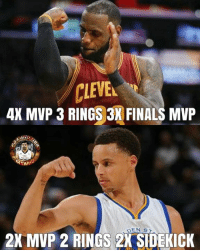 "Finals, Memes, and Nba: CLEVE  AX MVP 3 RINGS 3X FINALS MVP  AND  2K MVP 2  RINGS 2X SIDEKICK Stephen ""sidekick"" Curry   © PBA AND NBA MEMES  -power"
