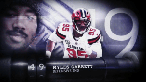"""He's like a tackle's NIGHTMARE."" 😱   Lot of sleepless nights knowing @MylesLGarrett is coming. (via @NFLFilms + @NFLNetwork) #NFLTop100 https://t.co/KfY2Em98tl: CLEVELAN  4 9  MYLES GARRETT  DEFENSIVE END ""He's like a tackle's NIGHTMARE."" 😱   Lot of sleepless nights knowing @MylesLGarrett is coming. (via @NFLFilms + @NFLNetwork) #NFLTop100 https://t.co/KfY2Em98tl"