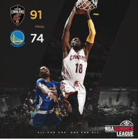 3-0 in the Summer League as the Cavs top the Warriors 91-74. @BPaul had a game-high 21 Points to go along with 4 rebounds and 2 assists. _ TeamCavsIG: CLEVELAND  91  CAVALIERS  FINAL  EN ST  74  ARRI  18  planet  επ  bi  NBASUMMER  LEAGUE  AL L FOR ON EONE F OR A LL 3-0 in the Summer League as the Cavs top the Warriors 91-74. @BPaul had a game-high 21 Points to go along with 4 rebounds and 2 assists. _ TeamCavsIG