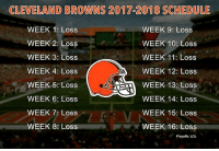 """Cleveland Browns, Lol, and Memes: CLEVELAND BROWINS 2017 2018 SCHEDULE  WEEK 1: Loss  WEEK 9: Loss  WEEK 10: Loss  WEEK 2: Loss  WEEK 11: Loss  WEEK 3: Loss  WEEK 4: Loss  WEEK 12: Loss  WEEK 13: Loss  WEEK 5: Loss  WEEK 6: Loss  WEEK 14: Loss  WEEK 15: Loss  WEEK 7: Loss  WEEK 8: Loss  WEEK 16: Loss  Playoffs: LOL """"With the first pick in the 2018 NFL Draft, the Cleveland Browns select"""""""