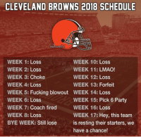 Cleveland Browns, Fucking, and Lmao: CLEVELAND BROWNS 2018 SCHEDULE  eGhettoGronk  WEEK 10: Loss  WEEK 11: LMAO!  WEEK 12: Loss  WEEK 13: Forfeit  WEEK 1: Loss  WEEK 2: Loss  WEEK 3: Choke  WEEK 4: Loss  WEEK 5: Fucking blowout WEEK 14: Loss  WEEK 6: Loss  WEEK 7: Coach fired  WEEK 8: Loss  BYE WEEK: Still loseis resting their starters, we  WEEK 15: Pick 6 Party  WEEK 16: Loss  WEEK 17: Hey, this team  have a chance! Looks like another perfect season for the Browns. 😂😂😂