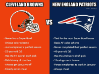 Af, Cleveland Browns, and England: CLEVELAND BROWNS  NEW ENGLAND PATRIOTS  @NFL MEMES  VS  Never lost a Super Bowl  Unique color scheme  Just completed a perfect season  22-year-old QB  Has the #1 overall draft pick  Rich history of coaches  Always get Januarys off  Clearly never cheat  Tied for the most Super Bowl losses  Basic AF color scheme  Never completed their perfect season  40-year-old QB  Has the 2nd worst draft pick  1 boring coach forever  Forces employees to work in January  Always cheat Browns vs Patriots https://t.co/tbR6TdKi0N