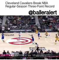 Memes, Bleacher Report, and Miamiheat: Cleveland Cavaliers Break NBA  Regular-Season Three-Point Record  @balleralert  CLE  6 A ATL 4  1st 9:05  LBRON JAMES  CLE  Season 89 APG (4th in NBA & career high)  OUTS  TIMEOUTS: Cleveland Cavaliers Break League Regular-Season Three-Point Record - blogged by: @MsJennyb ⠀⠀⠀⠀⠀⠀⠀⠀⠀ ⠀⠀⠀⠀⠀⠀⠀⠀⠀ On Friday, the ClevelandCavaliers took on the AtlantaHawks at the Philips Arena in the Peach State, where they set a new NBA regular-season record for three-pointers made in a single game, Bleacher Report states. ⠀⠀⠀⠀⠀⠀⠀⠀⠀ ⠀⠀⠀⠀⠀⠀⠀⠀⠀ The reigning NBA champs drained 25 treys, topping the HoustonRockets and DenverNuggets, who each held the previous record with 24 threes a piece from earlier this season. ⠀⠀⠀⠀⠀⠀⠀⠀⠀ ⠀⠀⠀⠀⠀⠀⠀⠀⠀ Initially, the team was set to become the third team to hold a share in the old record, however, in the final minute, KyleKorver stepped behind the arc to drain the record-breaking triple. ⠀⠀⠀⠀⠀⠀⠀⠀⠀ ⠀⠀⠀⠀⠀⠀⠀⠀⠀ On this historic night, LeBronJames dropped six threes, KyrieIrving hit five from beyond the arc, while Korver, DeronWilliams, and ChanningFrye drained three from deep. ⠀⠀⠀⠀⠀⠀⠀⠀⠀ ⠀⠀⠀⠀⠀⠀⠀⠀⠀ The next step for the team is to take their talents to South Beach to face the MiamiHeat at the America Airlines Arena. ballerificsports