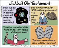 Clickbait Bible.: clickbait Old Testament  What this guy  Why did this man order  said he did  300 cubits of gopher wood?  The  E in less than  a week will  reason  make you  shock  question  you!  everything  Israelites are halted at the  Red Sea. You won't believe  what happens next  Top ten commandments.  No. 7 will blow your mind!  OIohr Atkinson, wrong Hands gocomics.com/wrong-hands wronghands1.com Clickbait Bible.