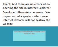 Internet, Internet Explorer, and Website: Client: And there are no errors when  opening the site in Internet Explorer?  Developer: Absolutely no errors. We  implemented a special system so as  Internet Explorer will not destroy the  website!  We do not support Internet Explorer.Get a  better browser It works as we intended it to in Internet Explorer.