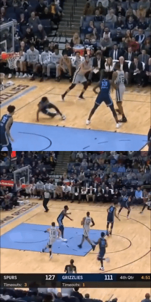 MAN DOWN 😱  Marco Belinelli drops Ja Morant then hits a three! https://t.co/MQCMuW4cA4: CLIES   AState Farms  la  18  127  111  SPURS  GRIZZLIES  4th Qtr  4:51  Timeouts: 3  Timeouts: 1 MAN DOWN 😱  Marco Belinelli drops Ja Morant then hits a three! https://t.co/MQCMuW4cA4
