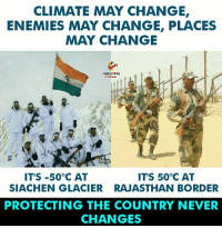 Change, Enemies, and Never: CLIMATE MAY CHANGE  ENEMIES MAY CHANGE, PLACES  MAY CHANGE  HING  İT'S-50°C AT  ITS 50°C AT  SIACHEN GLACIER RAJASTHAN BORDER  PROTECTING THE COUNTRY NEVER  CHANGES
