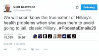 Jail, Memes, and Soon...: Clint Eastwood  Following  @Eastwood USA  We will soon know the true extent of Hillary's  health problems when she uses them to avoid  going to jail, classic Hillary  #PodestaEmails26  TS  LIKES  15,535  19,961  6:56 AM 2 Nov 2016  16K 20K How can you not Love Clint Eastwood? @EastwoodUSA