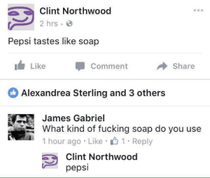 Fucking, Memes, and Pepsi: Clint Northwood  2 hrs  Pepsi tastes like soap  Like  Comment  → Share  Alexandrea Sterling and 3 others  James Gabriel  What kind of fucking soap do you use  1 . 1 . Reply  hour ago Like  Clint Northwood  pepsi Some people prefer Coke. via /r/memes https://ift.tt/2yQ9fuS