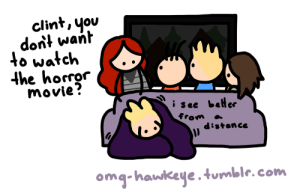 Omg, Target, and Tumblr: clint, you  dont want  to watch  the horror  movie?  i see beler  from  distance  omg-hawkeye.tumblr.com omg-hawkeye: omg #40