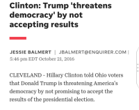 Donald Trump, Friday, and Hillary Clinton: Clinton: Trump 'threatens  democracy' by not  accepting results  JESSIE BALMERT JBALMERT@ENQUIRER.COM  5:46 pm EDT October 21, 2016  CLEVELAND - Hillary Clinton told Ohio voters  that Donald Trump is threatening America's  democracy by not promising to accept the  results of the presidential election.