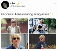 Dank, Princess, and Princess Diana: clive  @thehaloclive  Princess Diana wearing sunglasses