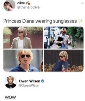 clive: clive  @thehaloclive  Princess Diana wearing sunglasses  EXIT  Owen Wilson  @OwenWilson  WOW