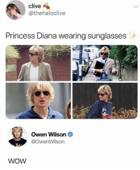 Wow, Owen Wilson, and Princess: clive  thehaloclive  Princess Diana wearing sunglasses  Owen Wilson  @owenWilson  84  WOW Wow