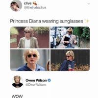 Memes, Omg, and Twitter: clive  @thehaloclive  Princess Diana wearing sunglasses  Owen Wilson  @owenWilson  WoW omg i literally didn't notice at first 😂 (@thehaloclive on Twitter)